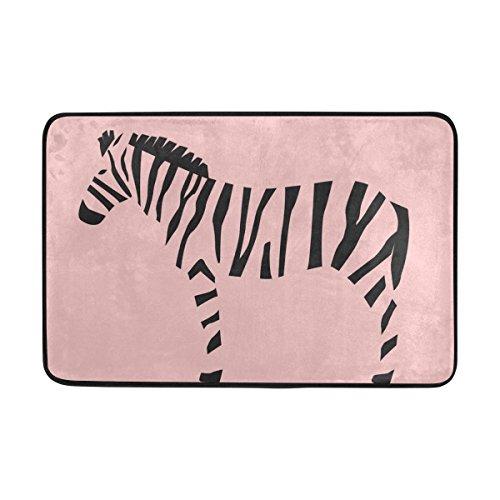 BENNIGIRY Außerhalb Shoe Fußmatte Rutschfester Animal Zebra Pflanze Blumen Muster Bereich Bad Teppich Badematte 59,9x 39,9cm -