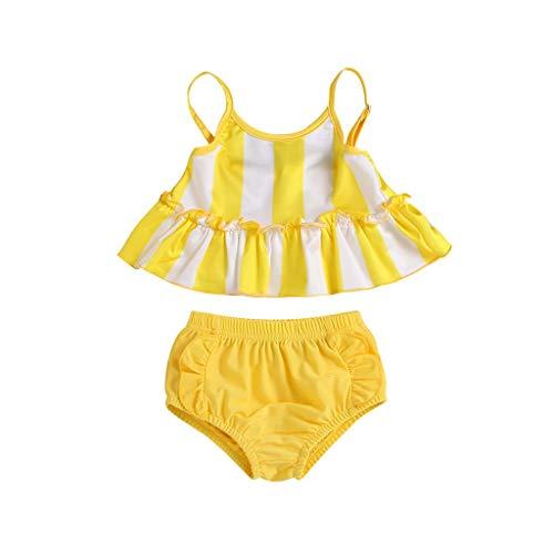 EUCoo_ Wetsuit Kinder Sommer bademode wasseranzug Baby Badeanzug Anzug einfach trocken Streifen zweiteilig(Gelb, 100)