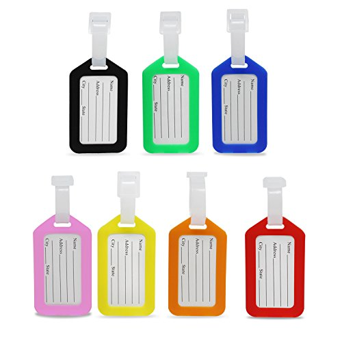 KEESIN 7 Pièces Coloré Étiquettes à Bagages Sécurisées Voyage Valise Bagage Sac À Main Tag Étiquettes (7-coloré)