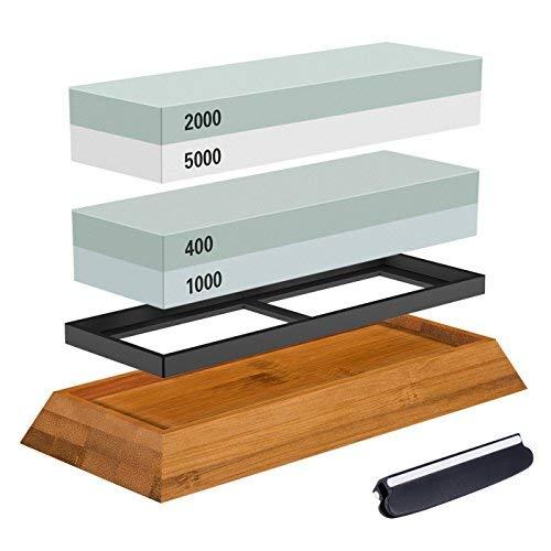 Abziehstein Schleifstein Set, ASEL 2-in-1 Wetzstein mit 400/1000 2000/5000 Körnung, Abziehstein für Messer inkl. Gummi-Steinhalter sowie Bambus Basis und Messer-Halter -