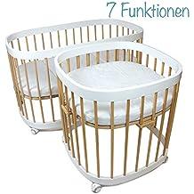 tweeto Baby – Cama infantil (7 en 1 Set Completo – Combi (haya blanco