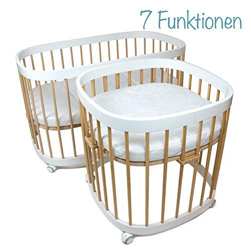 tweeto Lit pour bébé 7 en 1 avec matelas en bois de hêtre Blanc