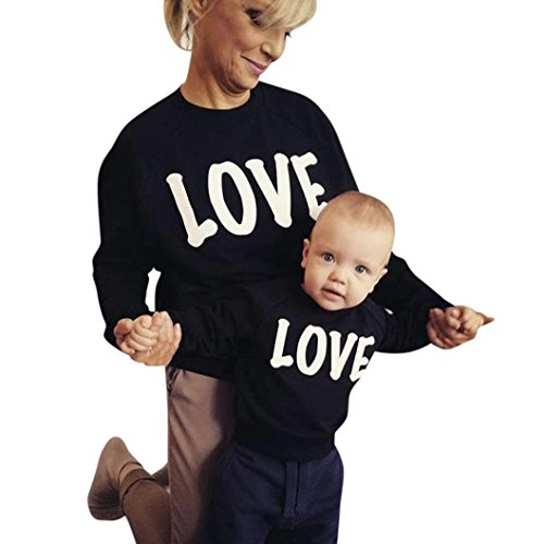Mom-kinder Sweatshirt (Mutter Tochter Pullover, Huihong Mom & Me Kaffee Print Langarm Sweatershirt Pullover Top Familie Kleidung (Schwarz, Mom S))