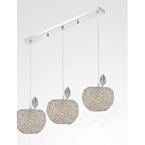 ZHY Tessuti lampadario in alluminio di apparecchi di illuminazione da soffitto pendente illumina illumina Ciondolo con tre testa lampada Ristorante , bianco caldo