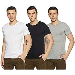 Chromozome Men's Plain Regular Fit T-Shirt (Pack of 3)(OS-10_White, Black, Grey_M)
