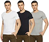 Chromozome Men's Plain Regular Fit T-Shirt (Pack of 3)(OS-10_White, Black, Grey_M)