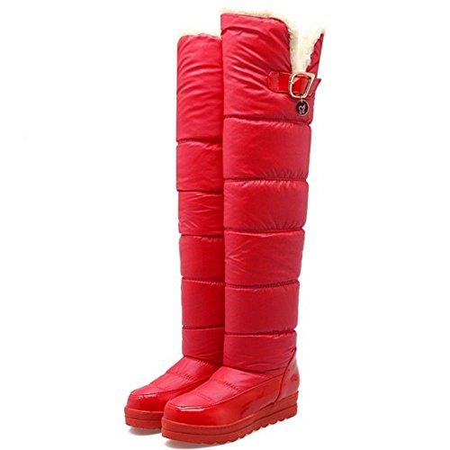 Inverno Botas Longo Botas Vermelho Taoffen De Neve Calcanhar Eixo Do De Mulheres Cunha Quente 56wnavXqf