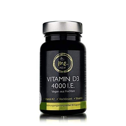 itsme.now Vitamin D3 4000 I.E. hochdosiert I Innovative Nahrungsergänzung Kombi-Präparat Vitamin D3 und K2 vegan zum Erhalt normaler Knochen I 90 Stück Vitamin D3 K2 Kapseln