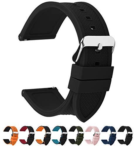 Fullmosa Silikon Uhrenarmband 22mm mit Schnellverschluss in 8 Farben, Regenbogen Weich Silikon Uhrenarmband mit Edelstahlschnalle,22mm Schwarz (Uhr Silikon-fossil)