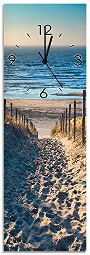 Artland Qualitätsuhren I Funk Wanduhr Designer Uhr Glas Funkuhr Größe: 20 x 60 cm Weg zum Nordseestrand Sonnenuntergang Niederlande J4JJ Meer Creme