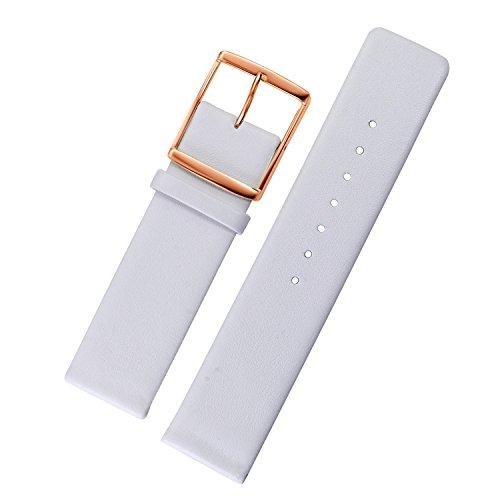 AUTULET 18mm Leder UhrenarmbandFrauen Weiß