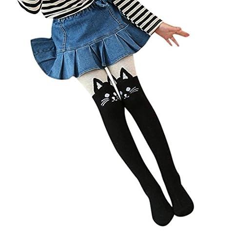 Vovotrade Enfants Fille Genou Haute Chaussettes Chat Mignon Chaussettes Imprimées Pantyhose Dancing Wear (Size:S, Noir)