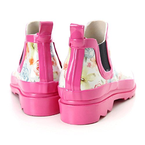 rosa Basso per aiutare Ms stivali da pioggia pink flowers