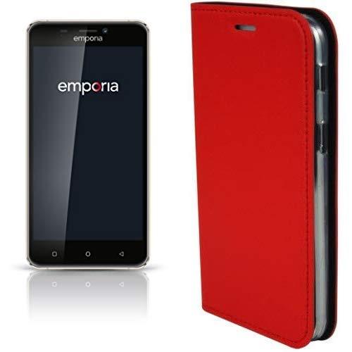 Emporia SMART.2 12,7 cm (5 Zoll) Smartphone (8MP Kamera, 16GB Speicher) Blueberry/Chrom & Handy-Schutzhülle im Book-Case Design mit Visitenkartenfach passend für emporia Smart.2