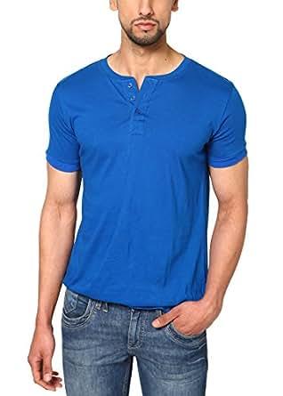 Unisopent Designs Men's Button Front Half Sleeve T-Shirt (Blue_Small)