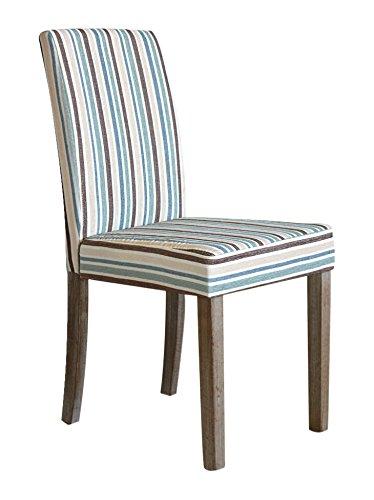 Tuoni yari sedia, legno rifinito rovere, tessuto in canapa rigato, 2 pezzi