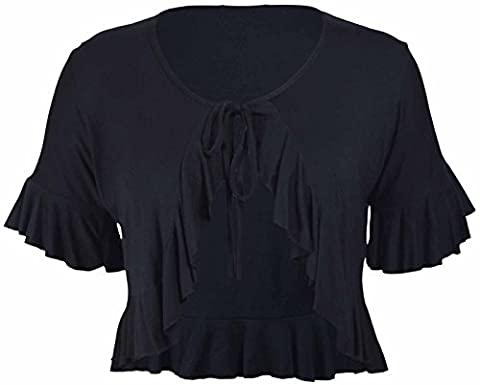New Ladies Plus Size Tie Frill Ruffle Shrug Tops Womens Bolero Cropped Stretch Cardigan Top Black Size 26 –