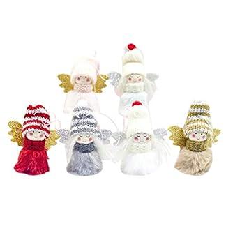 Amosfun 6 Piezas de muñecas de Punto Decoraciones para árboles de Navidad ángeles Adornos Colgantes Conjuntos de Fiesta de Interior para Fiestas decoración de Temporada
