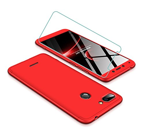 Joytag Funda Xiaomi Redmi 6 360 Grados Rojo Ultra Delgado Todo Incluido Caja del teléfono de la protección 3 en 1 Case+Protectora de película de Vidrio Templado Rojo