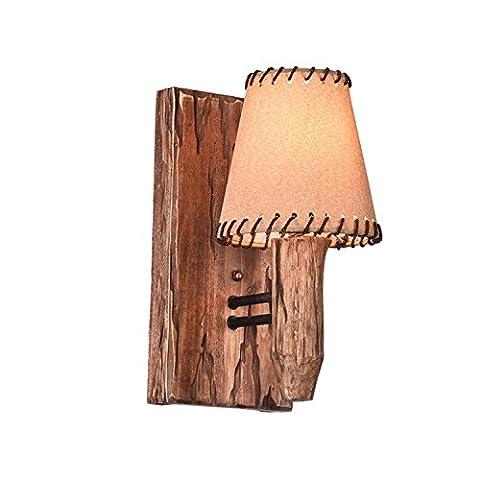 Maniny Lampe murale en tissu en bois, mur en bois massif rétro, abat-jour en tissu, personnalité loft Creative, navire en bois Antique Bar Cafe Lampe murale , single head