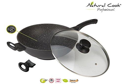 Natural Cook Professionnel Wok, Granit-Design / Keramik, 32cm, mit Deckel, für alle Herde außer Induktion