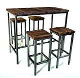 CHYRKA® Bartisch Stehtisch Barhocker Barstuhl BarMöbel SAMBOR Loft Vintage Bar Industrie Design Handmade Holz Metall (Tisch 120 + 4 Hocker)