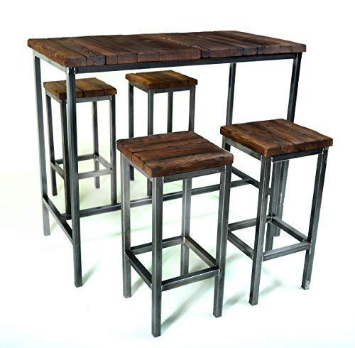 CHYRKA® Bartisch Stehtisch Barhocker Barstuhl BarMöbel SAMBOR Loft Vintage Bar Industrie Design Handmade Holz Metall (Tisch 120 + 4 Hocker) - Holz Bar Tisch