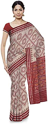 ODISHA HANDLOOM Women's Sambalpuri Cotton Saree(o 59_Off-Wh