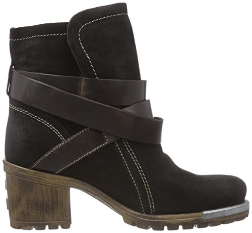 FLY London Lok, Bottes Motardes Femme Noir (Black/dkbrown 010)