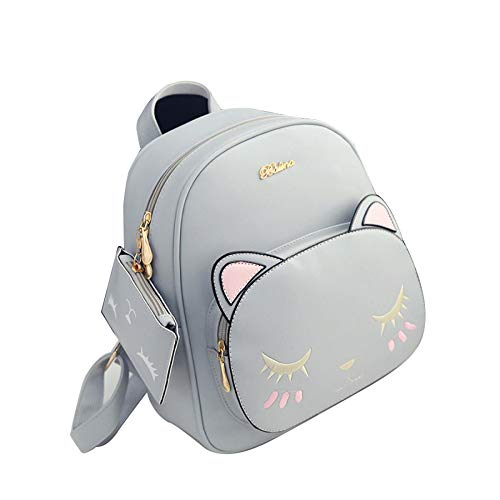 YSAN Mini Rucksack PU Kitty Netter Rucksack College Wind,Grey-OneSize (Mini-rucksack Kitty)