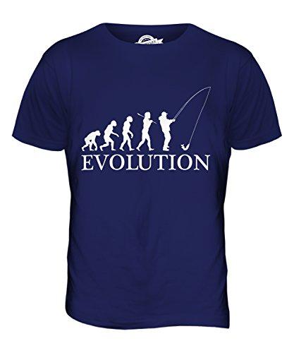 CandyMix Angeln Fischfang Evolution Des Menschen Herren T Shirt Navy Blau