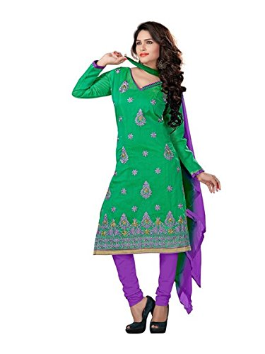 Vibes Women's Chanderi Unstitched Dress Materials (V303-1002_Green Colour)