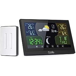 GBlife Station Météo Intérieur Extérieur sans Fil Professionnelle Thermomètre Hygromètre Colorée avec Ecran LCD Digital Baromètre Numérique (Station Météo)