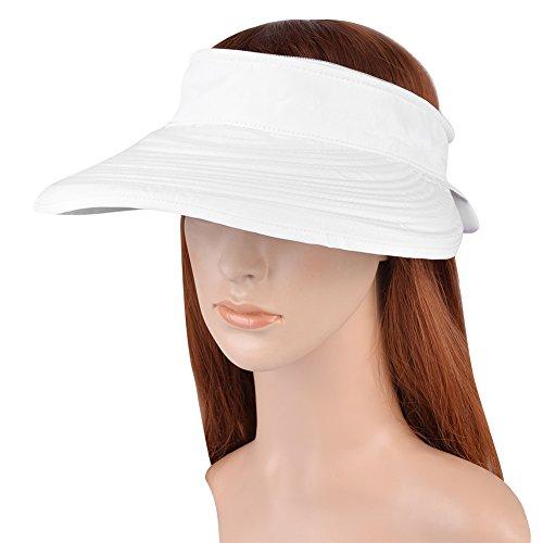 Vbiger Casquette à Visière Anti-soleil Pliable Détachable Zippé pour Eté Blanc