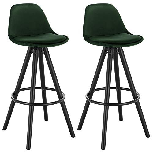 WOLTU® BH197dgn-2 2 x Barhocker 2er Set Barstuhl aus Samt Holzgestell mit Lehne + Fußstütze Design Stuhl Küchenstuhl optimal Komfort Dunkelgrün