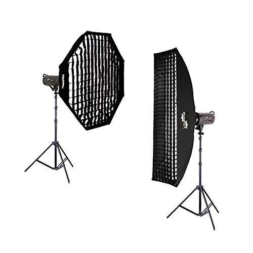 NICEFOTO Pro TS-300 Studioblitz 2 x 300Ws + Striplight 30x150cm + Oktagon Ø 95cm - Studioset -