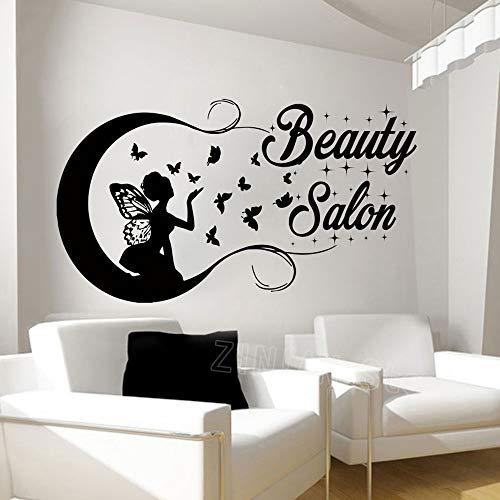 guijiumai Schmetterling Mädchen Silhouette Wandaufkleber Schönheitssalon Schmetterlinge Haar Vinyl Wandtattoo Frauendekor Aufkleber Mode Abziehbilder Rosa 98X56 cm -