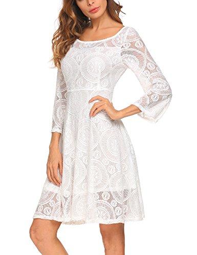 L'AMORE Damen Vintage Kleid Spitzenkleid Abendkleider Langarm Knielang Elegante Swing Partykleid,...