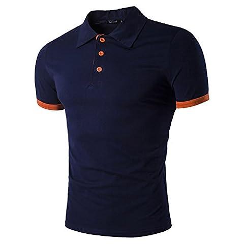 Mens Heavy Weight Cotton Polo Shirt Tech Short Sleeve Shirt Dark Blue L