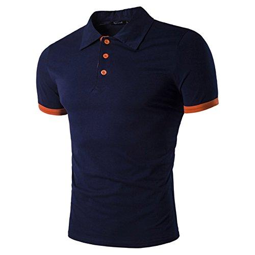 Button Down Cotton Polo Shirt (Mens Heavy Weight Cotton Polo Shirt Tech Kurzarm Shirt Dunkelblau L)