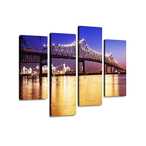 Baton Rouge Brücke über Mississippi River in Louisiana bei Nacht Leinwand Wandkunst hängen Gemälde moderne Kunstwerke abstraktes Bild Drucke Dekoration Geschenk einzigartig gestaltet gerahmt 4 Panel - Mississippi-brücke