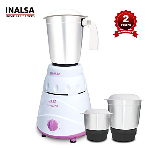 Inalsa Jazz 550-Watt Mixer Grinder with 3 Jars, (White/Purple)