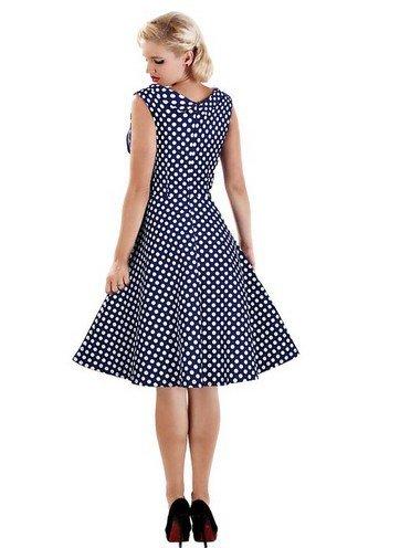 BOMOVO Damen Retro 1950er Kleider Swing Kleid Vintage Rockabilly Kleid Partykleid Cocktailkleid Etuikleider Blau
