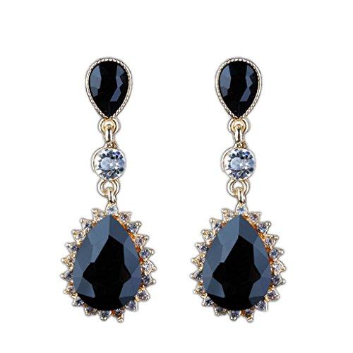 MagiDeal 1 Paar baumeln Ohrringe Kristall Verschönerung Ohrgehänge Hänger Hochzeit Mode - Schwarz (Schwarz Bejeweled)