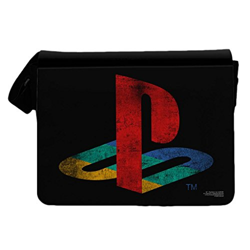 Ufficiale Sony PlayStation Distressed Logo borsa a tracolla Messenger nero