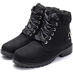 Botas Nieve Mujer Otoño Invierno Calentar Piel Forro Botines Goretex Retro Snow Boots Cordones Zapatillas Planas Negro 39