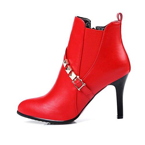 VogueZone009 Damen Hoher Absatz Weiches Material Niedrig-Spitze Rein Reißverschluss Stiefel Rot