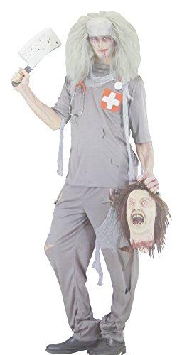 (Nick and Ben Zombie- Geist Doctor Damen-Herren-Kostüm Grösse L 52 54 Halloween Fasching-Karneval Chirurg- Arzt- Skelett-)