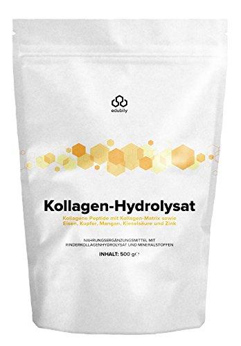 Kollagen Hydrolysat Pulver - Kollagene Peptide mit Zink, Mangan, Eisen, Kupfer & Kieselsäure - Geschmacksneutral - 500 g