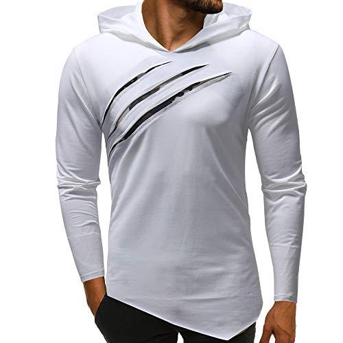 Riou Herren Langarm Hoodie Sweatshirt Slim fit Sweatjacke Kapuzenpullover Pullover T-Shirt Baumwoll Outwear Herren Pure Color Camouflage Nähte Hoodie Langarm Shirt Top (3XL, Weiß) -